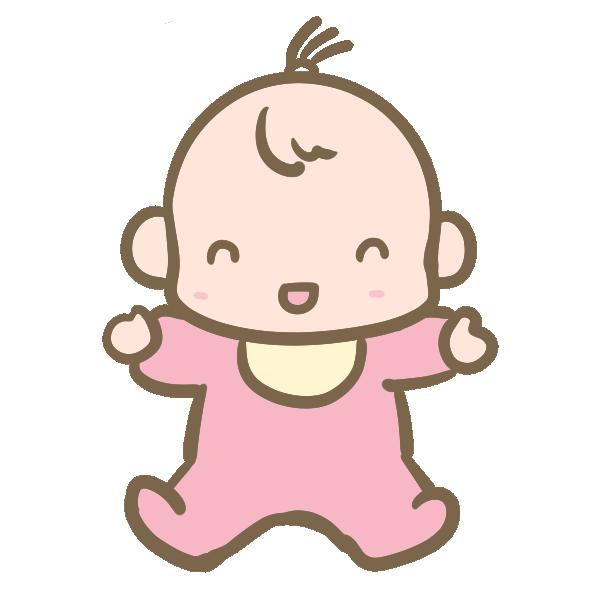 笑う赤ちゃん(女の子)のイラスト