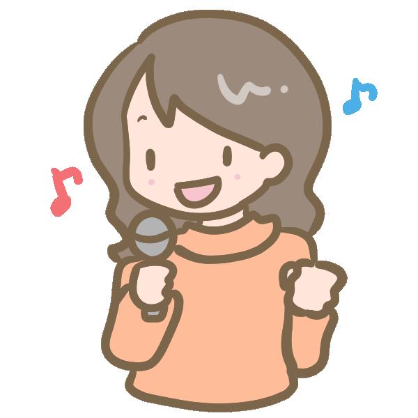 カラオケ(女性)のイラスト