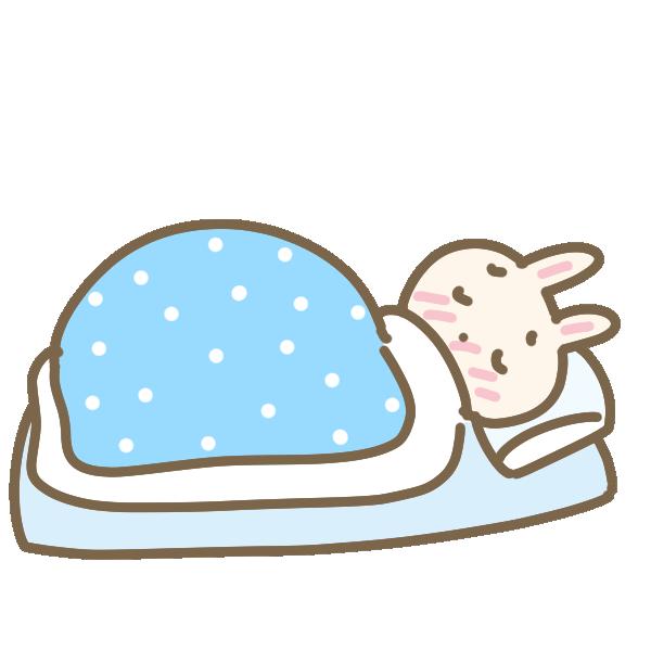 病気で寝込むウサギのイラスト