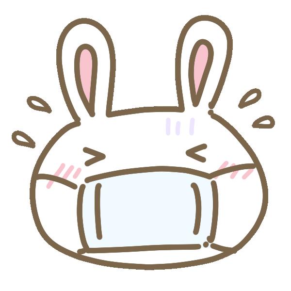 風邪をひいたウサギのイラスト