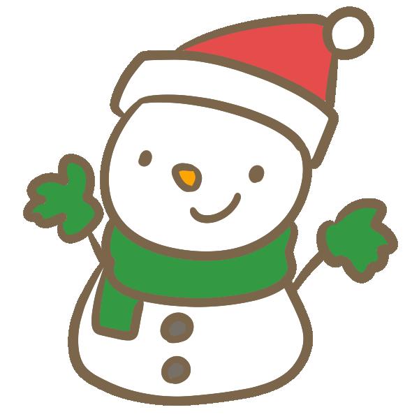 サンタ帽子の雪だるま(赤)のイラスト