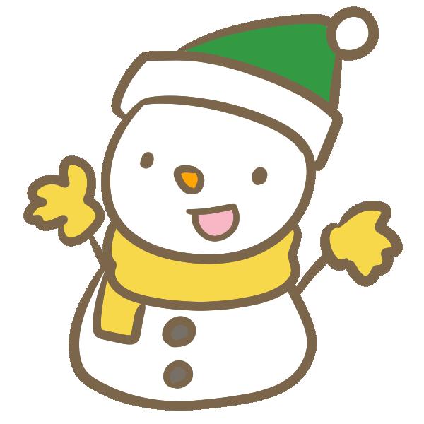 サンタ帽子の雪だるま(緑)のイラスト