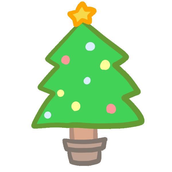 クリスマスツリー(緑)のイラスト