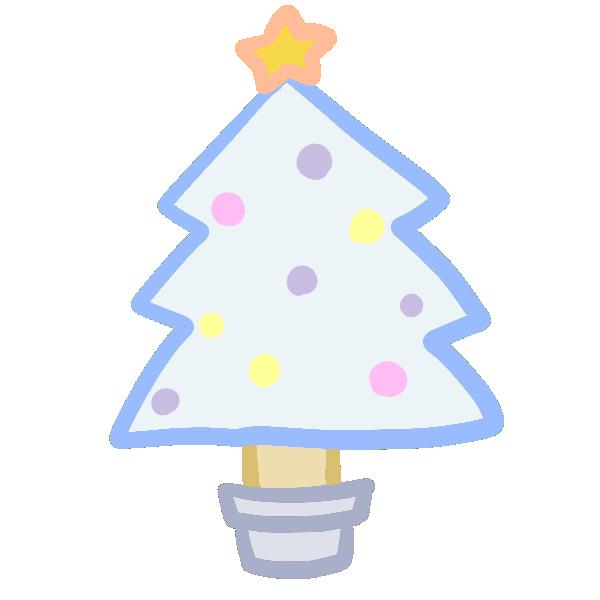 クリスマスツリー(白)のイラスト