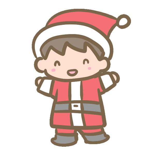 サンタ服の男の子のイラスト