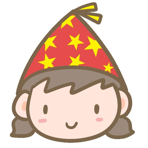 パーティ帽子の女の子のイラスト
