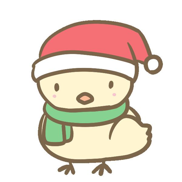 サンタ帽子のひよこのイラスト