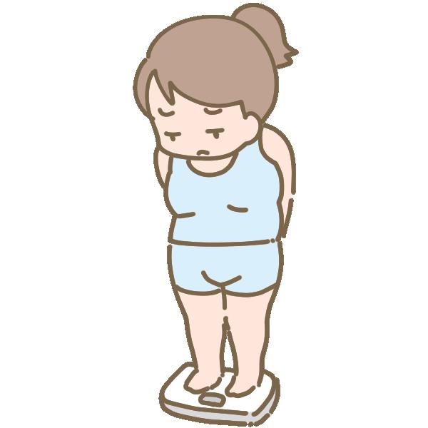 体重計に乗る太った女性のイラスト