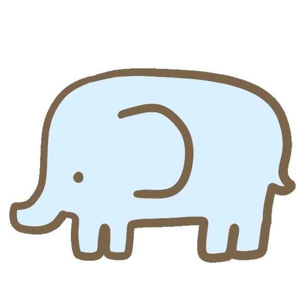 ゾウ(水色)のイラスト