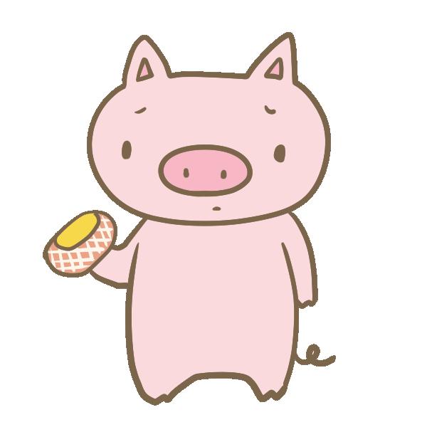 ハムを見て悲しむ豚のイラスト