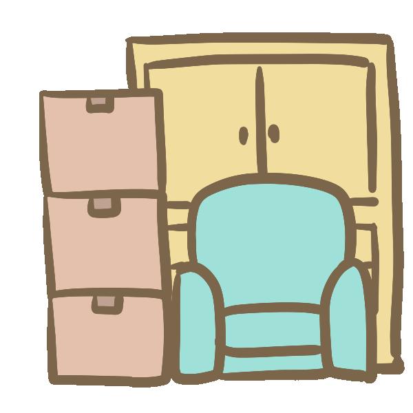 ダンボールと家具のイラスト
