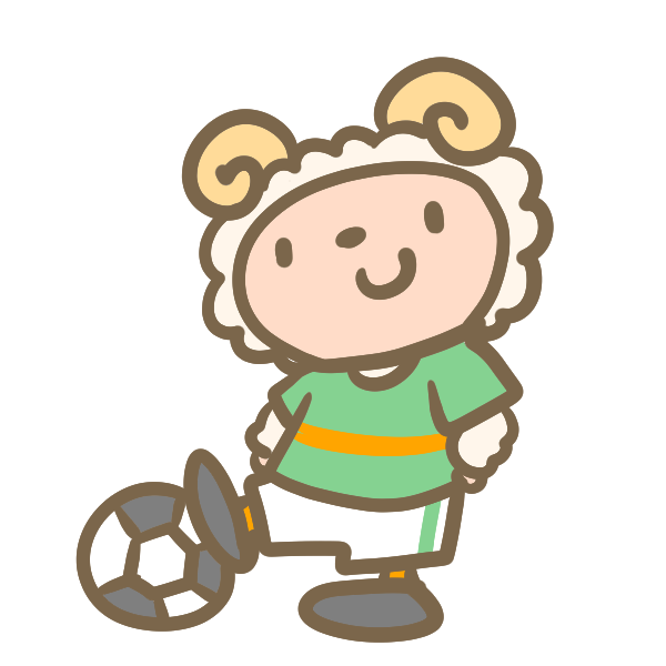 サッカーをする羊(緑)のイラスト