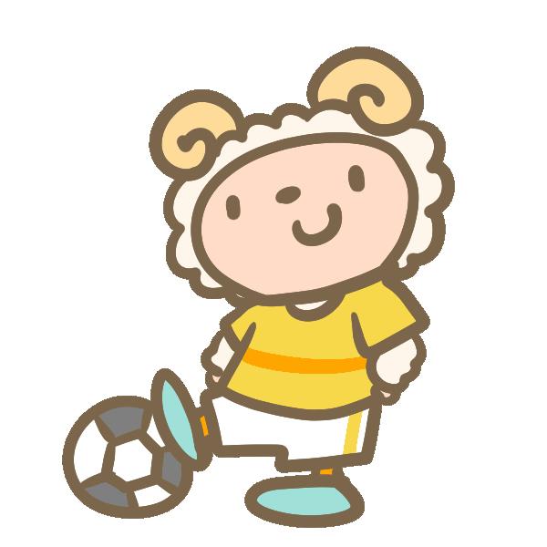 サッカーをする羊(黄色)のイラスト