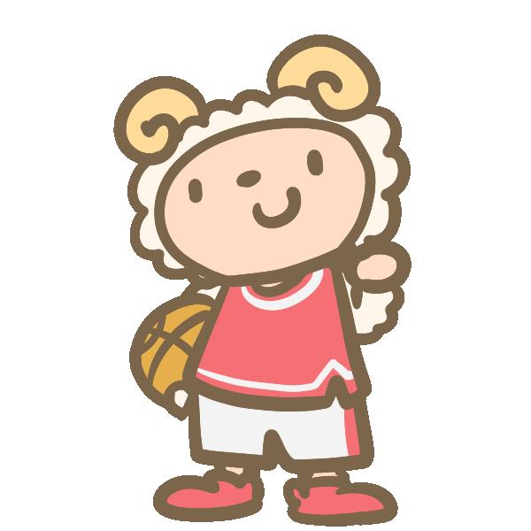 バスケをする羊(赤)のイラスト
