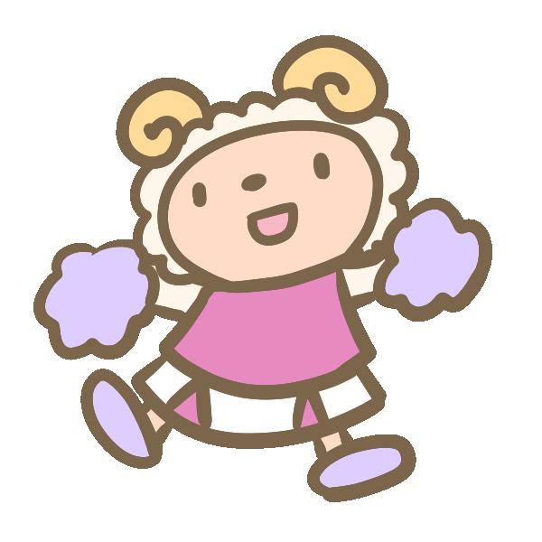 羊のチアリーダー(ピンク)のイラスト
