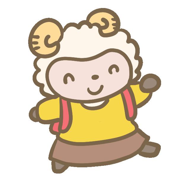 羊の小学生(女の子)のイラスト