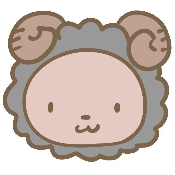 黒羊の顔のイラスト