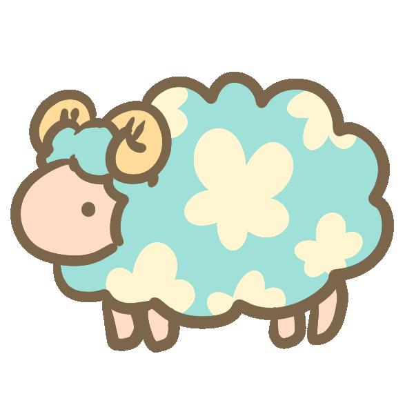 お花模様の羊(ブルー)のイラスト