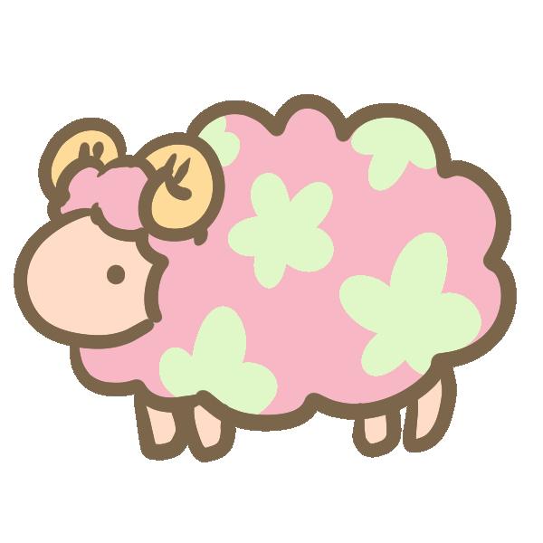 お花模様の羊(ピンク)のイラスト