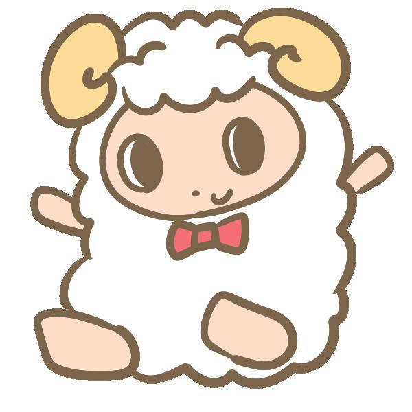 バンザイする羊のイラスト