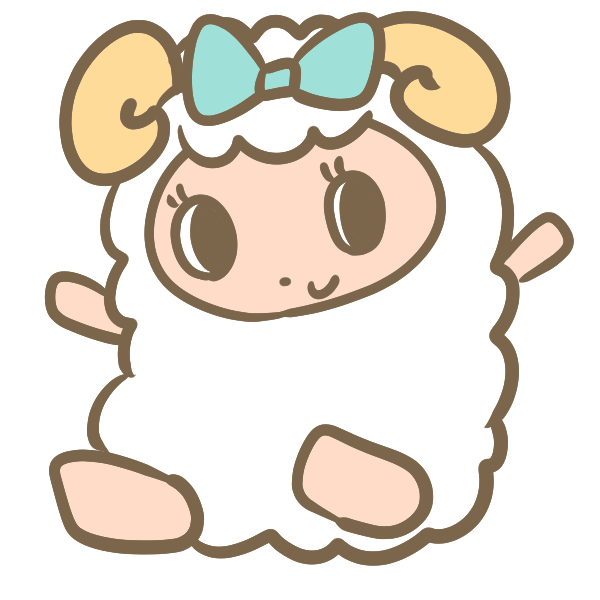 バンザイする羊(女の子)のイラスト