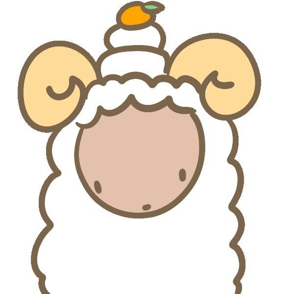 羊と鏡餅のイラスト