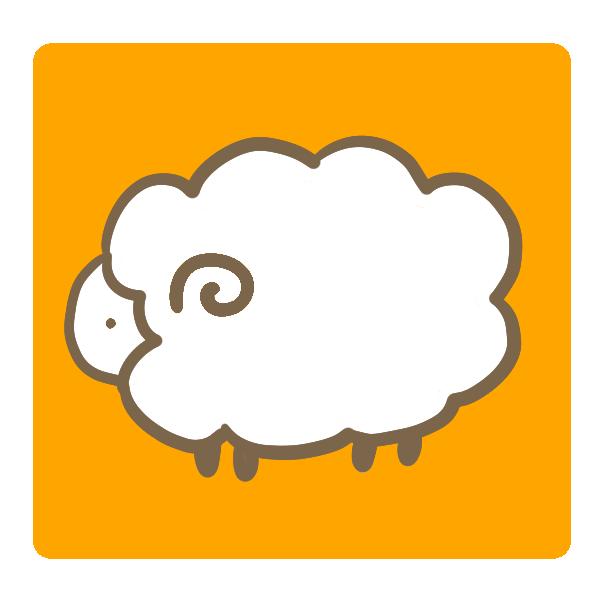 オレンジ背景の羊 のイラスト