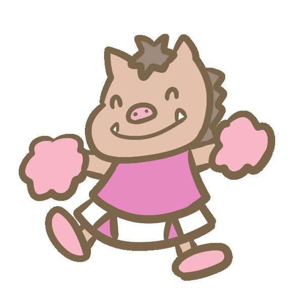 猪のチアリーダー(ピンク)のイラスト