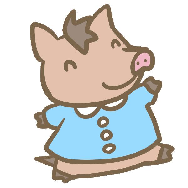 猪の園児のイラスト