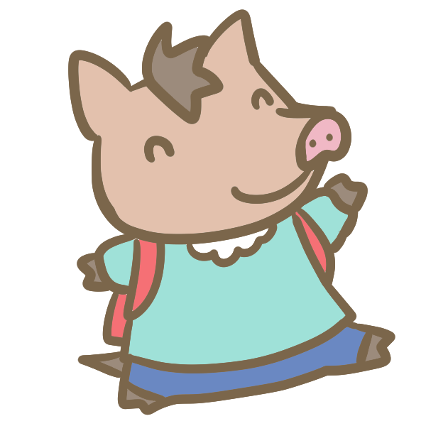 猪の小学生(女の子)のイラスト
