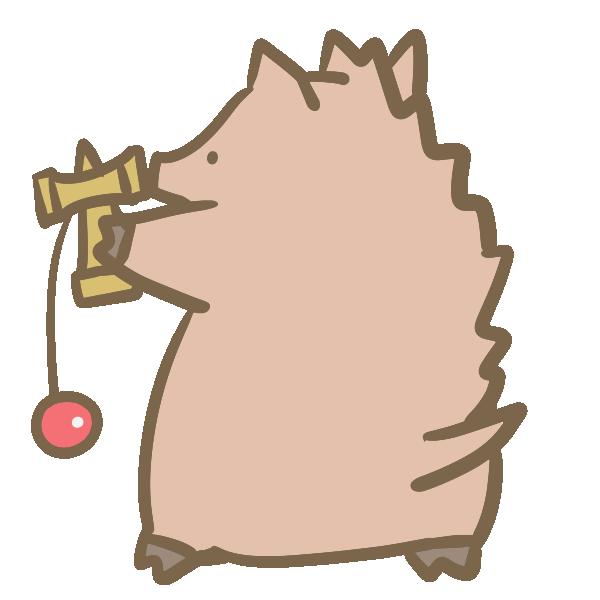 けん玉と猪のイラスト