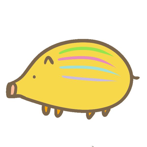 カラフルなうりぼうのイラスト