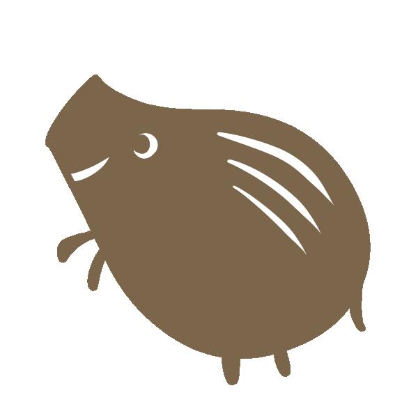 シンプルな猪(茶色)のイラスト