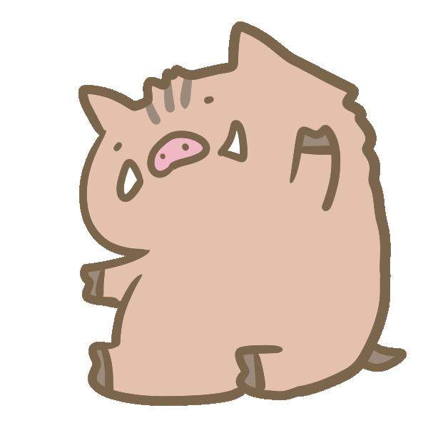 手を振る猪のイラスト