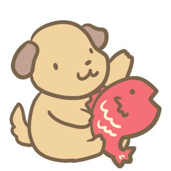 鯛と犬のイラスト