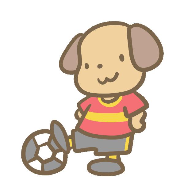 サッカーをする犬(赤)のイラスト