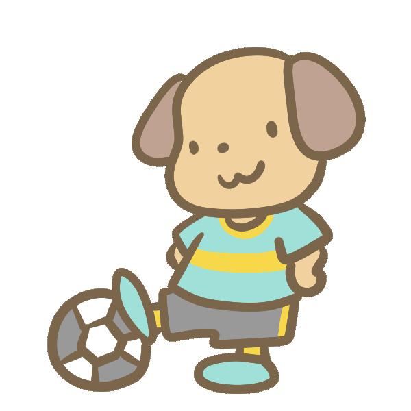 サッカーをする犬(水色)のイラスト