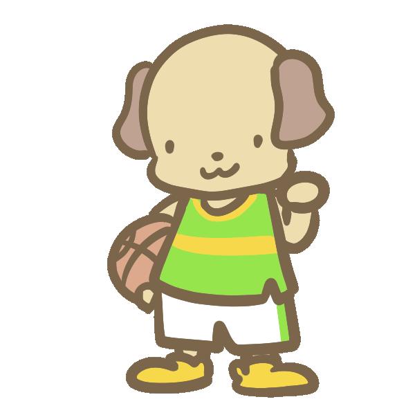 バスケをする犬(黄緑)のイラスト