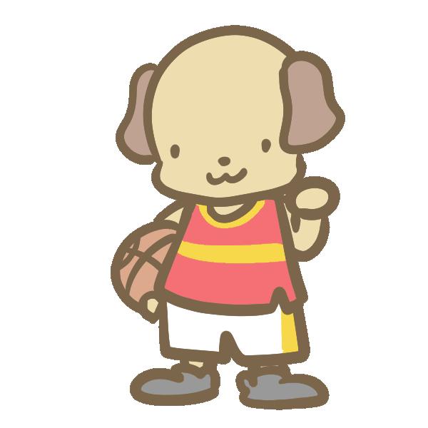 バスケをする犬(赤)のイラスト