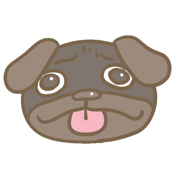 黒パグの顔のイラスト
