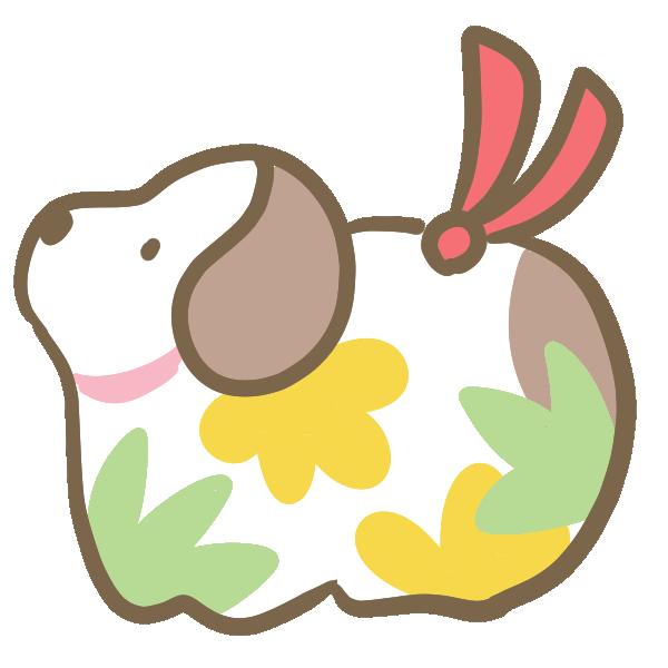 犬の置物(白)のイラスト