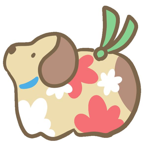 犬の置物(茶色)のイラスト