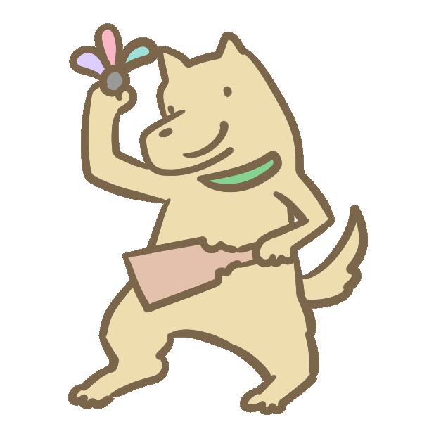 羽子板を持つ犬のイラスト