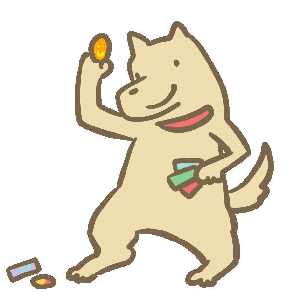 メンコをやる犬のイラスト