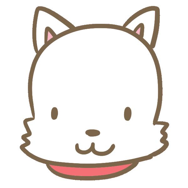 犬の顔(白)のイラスト