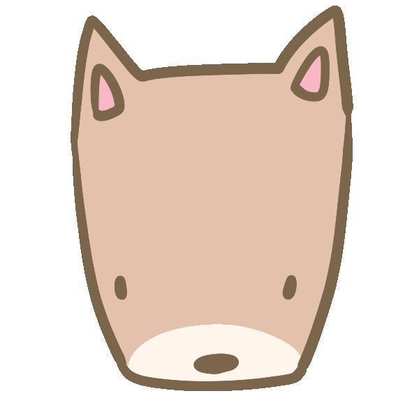 犬の顔(茶色)のイラスト
