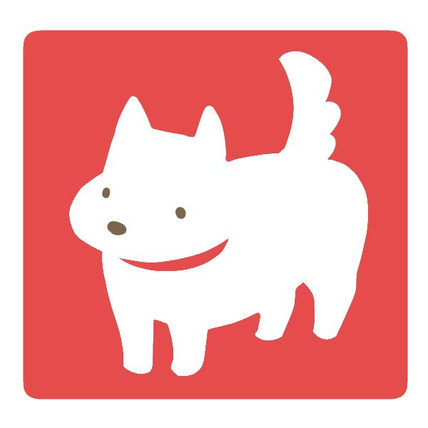犬(赤×白)のイラスト