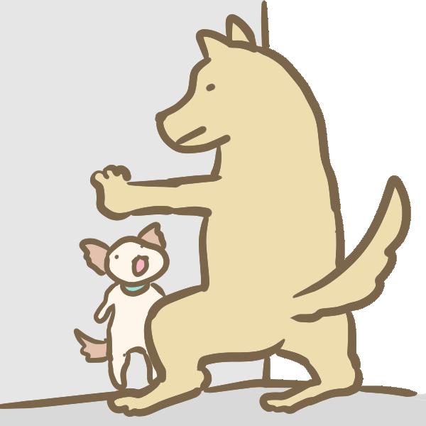 壁ドンする犬のイラスト