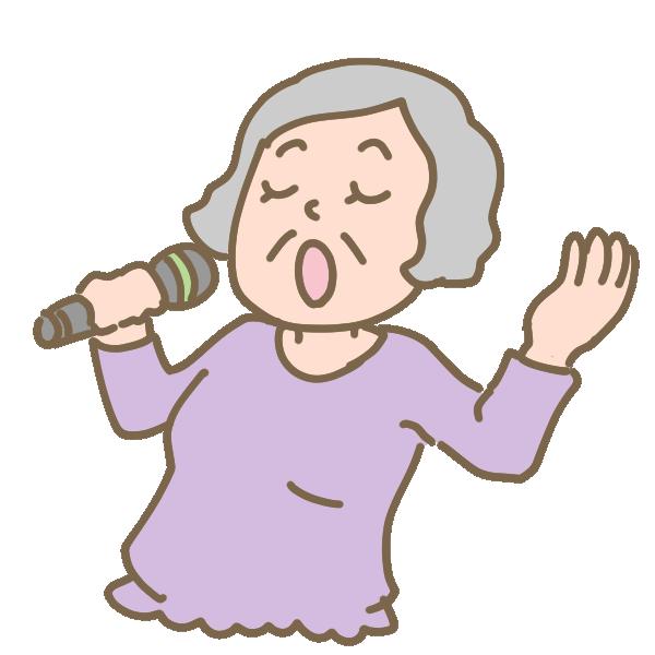 健康カラオケ(おばあさん)のイラスト