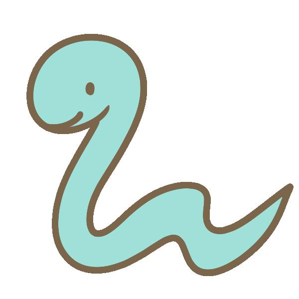 水色のヘビのイラスト